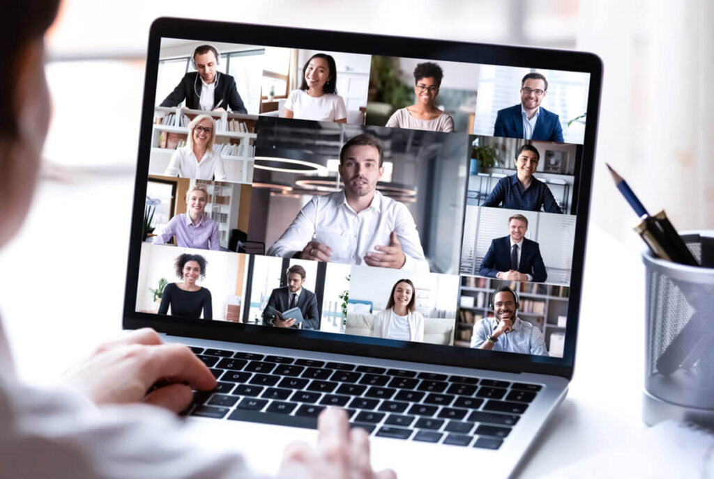 Photo of a person on a virtual meeting